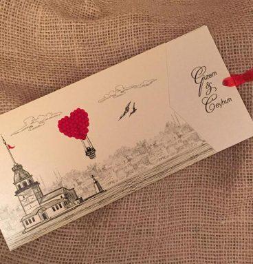 kız kulesli kırmızı kalpli balonlu istanbul davetiye