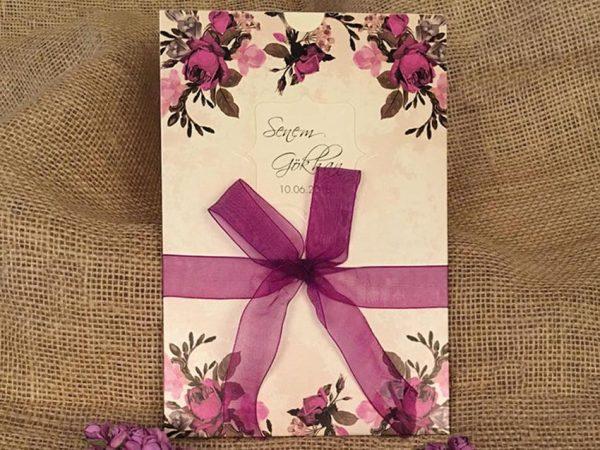 mor tül kurdeleli çiçekli davetiye