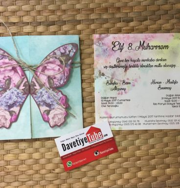 Kelebekli pembe düşler davetiye