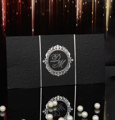 gümüş varaklı siyah renk katlamalı davetiye