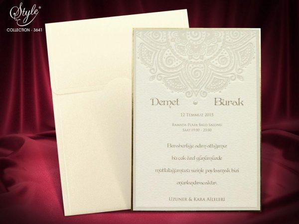 kalın kartlı karton incili davetiye