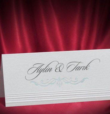 sedefli beyaz renk düğün masa kartı m13