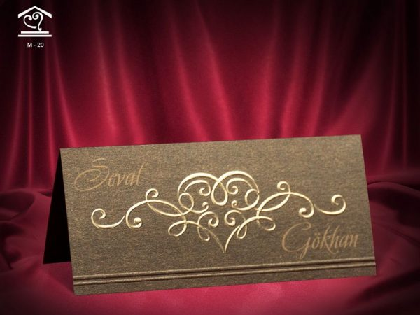 kahverengi düğün masa kartı m20