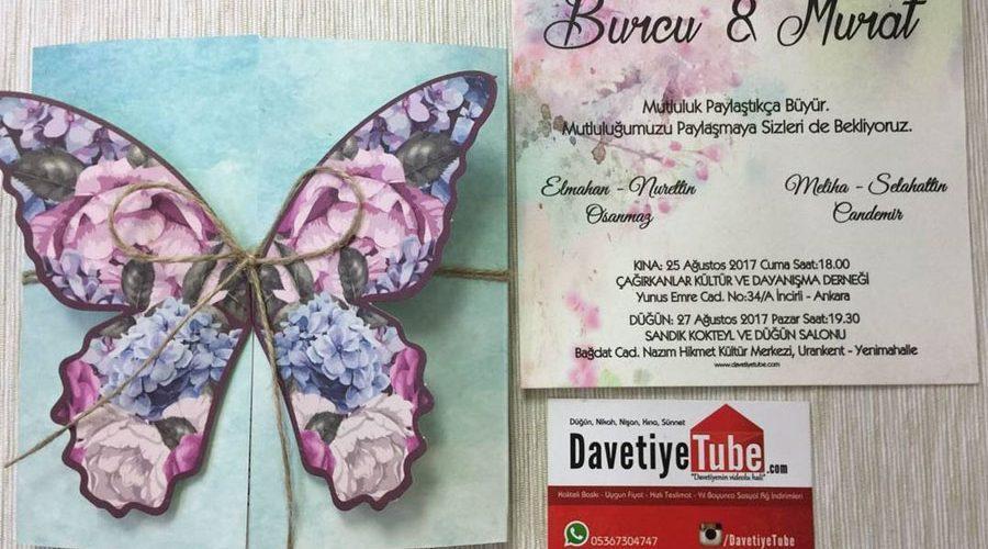 Kelebekli davetiyeler