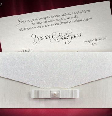 kurdeleli sedefli düğün davetiyesi