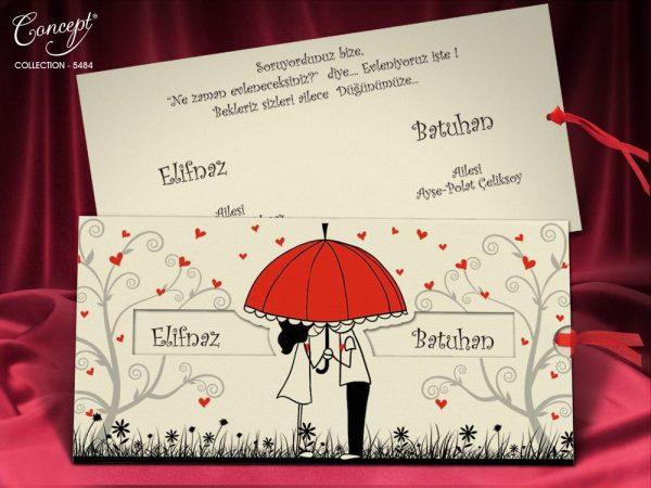 kırmızı şemsiyeli düğün davetiyesi