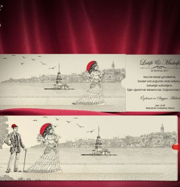 eski istanbul kız kulesi davetiye modeli