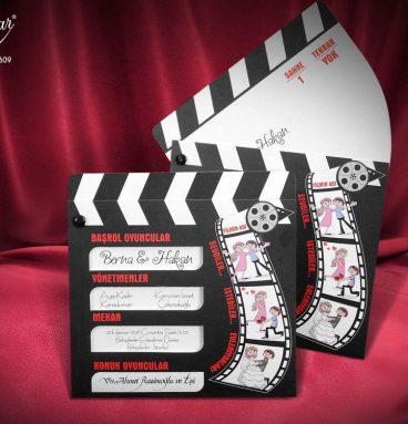 klaket şeklinde film şeritli davetiye