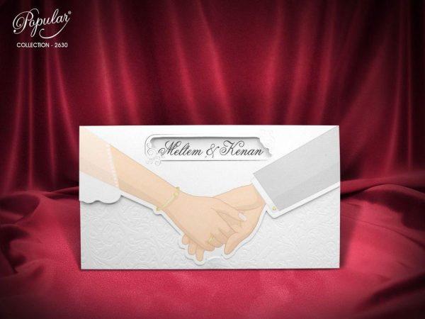 el ele tutuşan çift düğün nikah davetiyesi