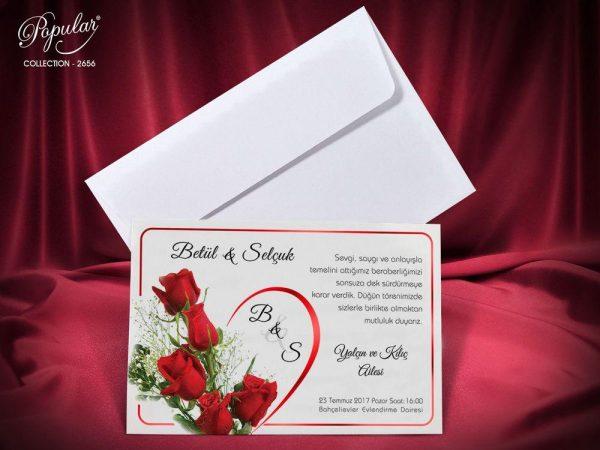 beyaz zarflı güllü çiçekli davetiye modeli