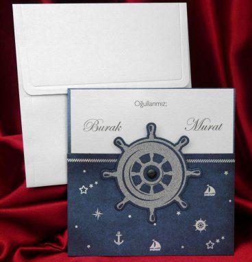 çapalı, dümenli gemi temalı sünnet davetiyesi