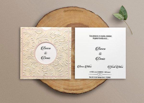 Güllü Çiçekli Düğün Davetiyesi