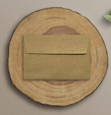 Buklet Kapaklı Dikdörtgen Kraft Davetiye Zarfı, 12×18 cm