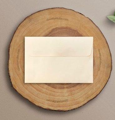 Buklet Kapaklı Dikdörtgen Krem Davetiye Zarfı, 12×18 cm