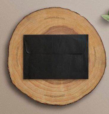 Buklet Kapaklı Dikdörtgen Siyah Davetiye Zarfı, 12×18 cm