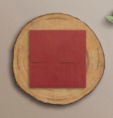 Buklet Kapaklı Kare Kırmızı Davetiye Zarfı, 16x16 cm