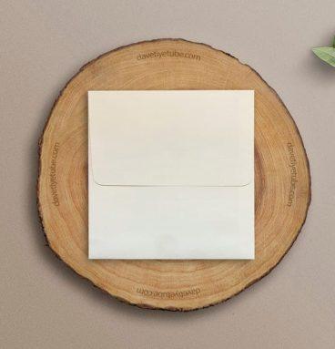Buklet Kapaklı Krem Siyah Davetiye Zarfı, 16x16 cm