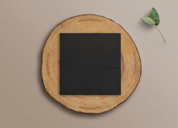 Buklet Kapaklı Kare Siyah Davetiye Zarfı, 16x16 cm
