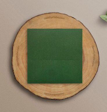 Buklet Kapaklı Yeşil Siyah Davetiye Zarfı, 16x16 cm
