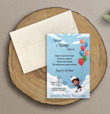 Renkli balonlu sünnet davetiyesi